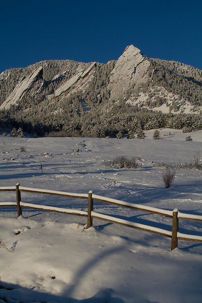 Snow at Chautauqua Park, Boulder, Colorado, USA .  John leads private photo tours in Boulder and throughout Colorado. Year-round Boulder photo tours.