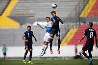 GUADALAJARA, MEXICO - MARCH 18: Samuel Vines #13 of the United States goes up for a header with Manfred Ugalde #14 of Costa Rica during a game between Costa Rica and USMNT U-23 at Estadio Jalisco on March 18, 2021 in Guadalajara, Mexico.