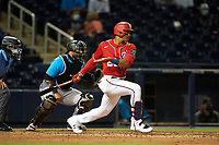 Washington Nationals Juan Soto (22) bats during a Major League Spring Training game against the Miami Marlins on March 20, 2021 at FITTEAM Ballpark of the Palm Beaches in Palm Beach, Florida.  (Mike Janes/Four Seam Images)