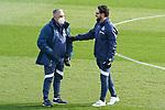 Getafe CF's coach Jose Bordalas (r) with his assistant Santos Ramirez during training session. February 17, 2021.(ALTERPHOTOS/Acero)