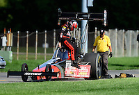Sept 9, 2012; Clermont, IN, USA: NHRA top fuel dragster driver David Grubnic during the US Nationals at Lucas Oil Raceway. Mandatory Credit: Mark J. Rebilas-