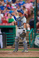 South Bend Cubs catcher Miguel Amaya (9) signals to the defense during a game against the Kane County Cougars on July 23, 2018 at Northwestern Medicine Field in Geneva, Illinois.  Kane County defeated South Bend 8-5.  (Mike Janes/Four Seam Images)