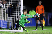 CARY, NC - DECEMBER 15: Tomas Romero #30 of Georgetown University makes the championship winning and game-ending save in the penalty kick shootout during a game between Georgetown and Virginia at Sahlen's Stadium at WakeMed Soccer Park on December 15, 2019 in Cary, North Carolina.