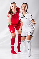 Katy Hosford and Emma Beynon<br />Swansea City FC kit photo shoot at the Liberty Stadium, Wales, UK. Wednesday 03 May 2017