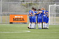 Petone FC team Huddle during the Central League Football - Petone FC v Lower Hutt AFC at Petone Memorial Park, Lower Hutt, New Zealand on Friday 2 April 2021.<br /> Copyright photo: Masanori Udagawa /  www.photosport.nz
