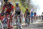 Riders, including Heinrich Haussler (AUS) Orica GreenEdge, tackle Sector 18 la Trouee de Arenberg during the 113th edition of the Paris-Roubaix 2015 cycle race held over the cobbled roads of Northern France. 12th April 2015.<br /> Photo: Eoin Clarke www.newsfile.ie