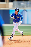 Biloxi Shuckers right fielder Clint Coulter (12) rounds the bases after hitting a home run in the bottom of the sixth inning during a game against the Jackson Generals on April 23, 2017 at MGM Park in Biloxi, Mississippi.  Biloxi defeated Jackson 3-2.  (Mike Janes/Four Seam Images)