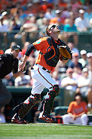 Baltimore Orioles catcher Matt Wieters (32) looks for a popup during a Spring Training game against the Minnesota Twins on March 7, 2016 at Ed Smith Stadium in Sarasota, Florida.  Minnesota defeated Baltimore 3-0.  (Mike Janes/Four Seam Images)