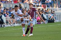 SAN JOSÉ CA - JULY 27: Nick Lima #24 and Sam Nicholson #28 during a Major League Soccer (MLS) match between the San Jose Earthquakes and the Colorado Rapids on July 27, 2019 at Avaya Stadium in San José, California.
