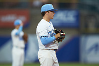 North Carolina Tar Heels third baseman Kyle Datres (3) on defense against the Miami Hurricanes in the second semifinal of the 2017 ACC Baseball Championship at Louisville Slugger Field on May 27, 2017 in Louisville, Kentucky. The Tar Heels defeated the Hurricanes 12-4. (Brian Westerholt/Four Seam Images)