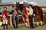 KYOTO,JAPAN-NOVEMBER 12: Jeune Ecole,ridden by Yuichi Fukunaga,after winning the Daily Hai Nisai Stakes at Kyoto Racecourse on November 12,2016 in Kyoto,Kyoto,Japan (Photo by Kaz Ishida/Eclipse Sportswire/Getty Images)