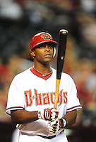 Aug. 19, 2010; Phoenix, AZ, USA; Arizona Diamondbacks outfielder Justin Upton against the Cincinnati Reds at Chase Field. Mandatory Credit: Mark J. Rebilas-