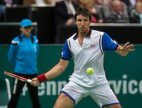 Rotterdam, The Netherlands. 15.02.2014. Igor Sijsling(NED) playing against Marin Cilic(KRO) at the ABN AMRO World tennis Tournament<br /> Photo:Tennisimages/Henk Koster