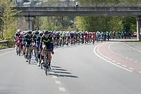 Team Movistar of race favourite Alejandro Valverde (ESP/Movistar) setting the pace in the peloton<br /> <br /> 81st La Flèche Wallonne (1.UWT)<br /> One Day Race: Binche › Huy (200.5km)
