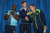 "Wycombe Wanderers new signing, Adebayo Akinfenwa, aka ""The Beast"", is unveiled during the 2016/17 Kit Launch of Wycombe Wanderers to the public while Manager, Gareth Ainsworth (right) welcomes his latest signing at Adams Park, High Wycombe, England on 10 July 2016. Photo by David Horn."