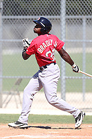 Boston Red Sox outfielder Jackie Bradley Jr #35 during an intrasquad Instructional League game at Red Sox Minor League Training Complex in Fort Myers, Florida;  October 4, 2011.  (Mike Janes/Four Seam Images)