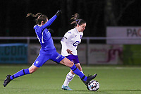 forward Gwen Duijsters (13) of KRC Genk pictured tackling Stefania Vatafu (10) of Anderlecht  during a female soccer game between  Racing Genk Ladies and RSC Anderlecht on the 16 th matchday of the 2020 - 2021 season of Belgian Scooore Womens Super League , friday 12 th of March 2021  in Genk , Belgium . PHOTO SPORTPIX.BE   SPP   SEVIL OKTEM