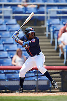 Binghamton Mets center fielder Maikis De La Cruz (11) at bat during a game against the Richmond Flying Squirrels on June 26, 2016 at NYSEG Stadium in Binghamton, New York.  Binghamton defeated Richmond 7-2.  (Mike Janes/Four Seam Images)