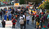 Hundreds gather outside City Hall during the People's Climate March in Seattle, Wash. on October 14, 2015. (photo © Karen Ducey for the Sierra Club)