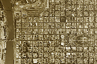 historical aerial photograph of Sacramento, California,  1947
