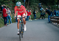Michael Valgren (DEN/Astana) attacking and going solo up the ridiculously steep Hôll Climb in the final lap<br /> <br /> MEN ELITE ROAD RACE<br /> Kufstein to Innsbruck: 258.5 km<br /> <br /> UCI 2018 Road World Championships<br /> Innsbruck - Tirol / Austria