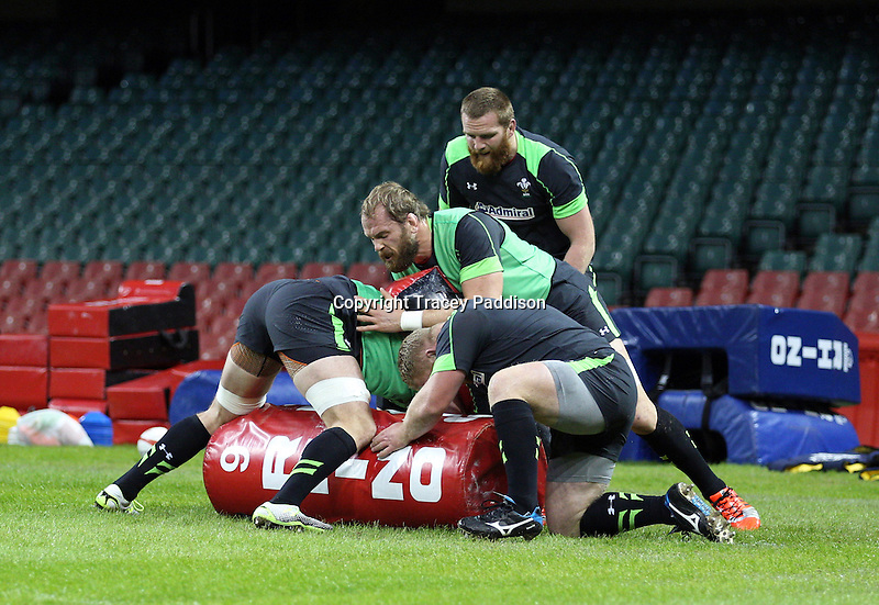 Monday 3 November 2014<br />Pictured: Jake Ball, Alun Wyn Jones<br />Re: Wales rugby squad train for the Dove Men series autumn internationals on the new pitch at the Millennium Stadium, Cardiff, United Kingdom.