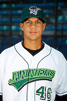 Jamestown Jammers first baseman Viosergy Rosa #46 poses for a photo before a game against the Mahoning Valley Scrappers at Russell E. Diethrick Jr Park on September 2, 2011 in Jamestown, New York.  Mahoning Valley defeated Jamestown 8-4.  (Mike Janes/Four Seam Images)