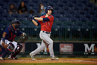 Jacksonville Jumbo Shrimp Brian Miller (5) at bat during a Southern League game against the Mississippi Braves on May 4, 2019 at Trustmark Park in Pearl, Mississippi.  Mississippi defeated Jacksonville 2-0.  (Mike Janes/Four Seam Images)