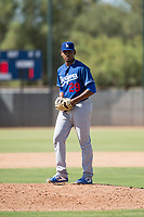 Los Angeles Dodgers relief pitcher Guillermo Zuniga (29) gets ready to deliver a pitch during an Instructional League game against the Milwaukee Brewers at Maryvale Baseball Park on September 24, 2018 in Phoenix, Arizona. (Zachary Lucy/Four Seam Images)