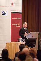 Montreal (QC) CANADA - May 16 2011 - <br /> Pierre Morin, top ranking leader of ALCOA in Canada, adress the Canadian Club of Montreal