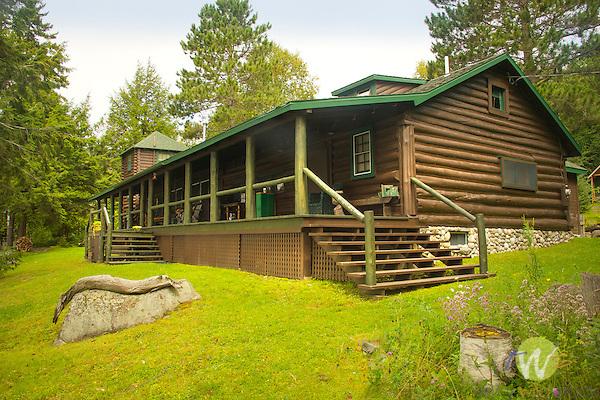 Restored log cabin at Moosehead Lake, ME