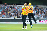Samit Patel and Matt Carter, Trent Rockets celebrate the wicket of Denly during London Spirit Men vs Trent Rockets Men, The Hundred Cricket at Lord's Cricket Ground on 29th July 2021
