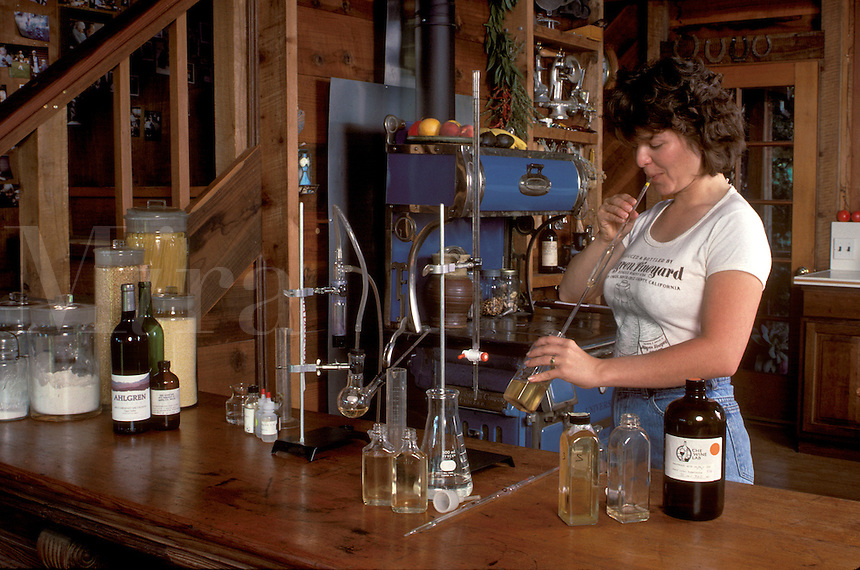 PH testing of the WINE at AHLGREN VINEYARD - SANTA CRUZ MOUNTAINS, CALIFORNIA