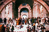 """Vatican:  Raphael's Rooms--""""The School of Athens"""" , a  fresco by Raphael in a reception room (Segnatura) of the Palace of the Vatican."""
