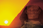 Egypt's Old Kingdom, Sunset at the Pyramid of Khafre & Sphinx at Giza, Sun sets on corner of Khafre's pyramid as seen from Sphinx on spring and fall equinox, solar alignment, 4th dynasty