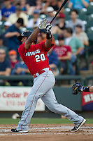 Oklahoma City RedHawks catcher Carlos Perez (20) follows through on his swing during the Pacific Coast League baseball game against the VVV on July 9, 2013 at the Dell Diamond in Round Rock, Texas. Round Rock defeated Oklahoma City 11-8. (Andrew Woolley/Four Seam Images)