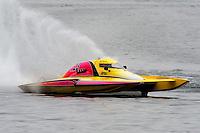 "13-14 June, 2009, APBA Inboards, Walled Lake, Novi, MI. USA.Mike Monohan, A-23 ""Geezerboat"", 2.5 Mod hydroplane.©F. Peirce Williams 2009 USA.F.Peirce Williams.photography.ref: RAW (.NEF) File Available"