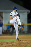Burlington Royals relief pitcher Zack Phillips (34) in action against the Johnson City Cardinals at Burlington Athletic Stadium on September 4, 2019 in Burlington, North Carolina. The Cardinals defeated the Royals 8-6 to win the 2019 Appalachian League Championship. (Brian Westerholt/Four Seam Images)