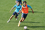 Getafe CF's Giovanni Navarro (l) and Enes Unal during training session. September 23, 2020.(ALTERPHOTOS/Acero)