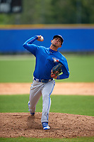 Toronto Blue Jays Juan Meza (23) during a minor league Spring Training game against the Philadelphia Phillies on March 26, 2016 at Englebert Complex in Dunedin, Florida.  (Mike Janes/Four Seam Images)