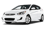 Stock pictures of low aggressive front three quarter view of 2017 Hyundai Accent SE 6-Speed Automatic 5 Door Hatchback Low Aggressive