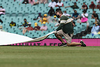 7th January 2021; Sydney Cricket Ground, Sydney, New South Wales, Australia; International Test Cricket, Third Test Day One, Australia versus India; the rain covers come on during the first session of the day