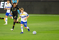 LOS ANGELES, CA - SEPTEMBER 02: Tommy Thompson #22 of the San Jose Earthquakes moves to the ball during a game between San Jose Earthquakes and Los Angeles FC at Banc of California stadium on September 02, 2020 in Los Angeles, California.