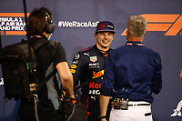 27th March 2021; Sakhir, Bahrain; F1 Grand Prix of Bahrain, Qualifying sessions;  VERSTAPPEN Max (ned), Red Bull Racing Honda RB16B interviewed by  David Coulthard as he took pole position, during Formula 1 Gulf Air Bahrain Grand Prix 2021 qualifying