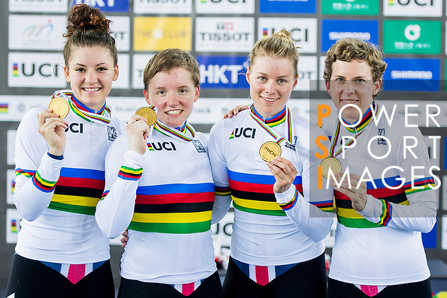 The team of United States with Kelly Catlin, Chloe Dygert, Kimberly Geist and Jennifer Valente celebrate winning in the Women's Team Pursuit Finals as part of the Women's Team Pursuit Finals as part of the 2017 UCI Track Cycling World Championships on 13 April 2017, in Hong Kong Velodrome, Hong Kong, China. Photo by Marcio Rodrigo Machado / Power Sport Images