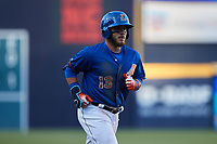 Esteban Quiroz (13) of the Durham Bulls rounds the bases after hitting a home run against the Jacksonville Jumbo Shrimp at Durham Bulls Athletic Park on May 15, 2021 in Durham, North Carolina. (Brian Westerholt/Four Seam Images)