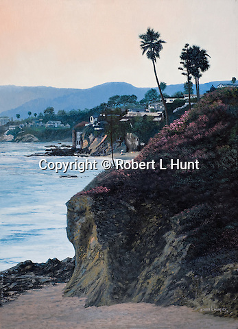 """A view of Pacific Ocean surf at scenic Laguna Beach in beautiful southern California Orange County. Oil on canvas, 27"""" x 20""""."""