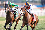 September 11, 2021: Imperador (ARG) #1, ridden by jockey Joe Talamo hold off a fast-closing Arklow #5 ridden by Florent Geroux to win the Grade 2 Calumet Turf Cup Stakes on the turf at Kentucky Downs Racecourse in Franklin, K.Y. on September 11th, 2021. (Equisport Photos for editorial use only)