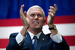 Mike Pence, Vice-presidential candidate for the Republican Party is seen on stage in Bensalem, PA, as he makes a campaign stop in the Philadelphia Suburbs, in the last two weeks before the November 8, 2016 General Elections for President of the United States.