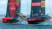 15th March 2021; Waitemata Harbour, Auckland, New Zealand;  Emirates Team New Zealand and Luna Rossa Prada Pirelli Team in the start build up for race eight on day five of the America's Cup presented by Prada